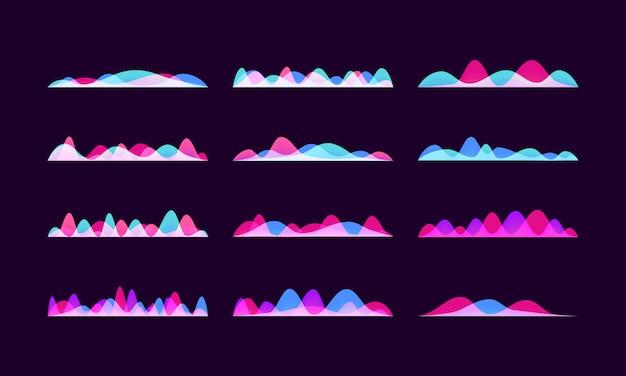 Conjunto de ondas sonoras de vetor, barra de música digital colorida de néon.