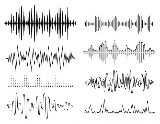 Conjunto de ondas sonoras de vetor