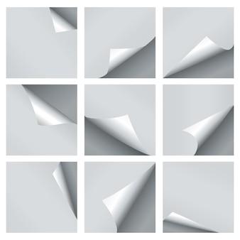 Conjunto de ondulação de papel de vetor.
