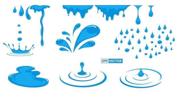 Conjunto de ondulações líquidas realistas ou gota de chuva de água ondulada isolada ou capilar de respingo de água natural