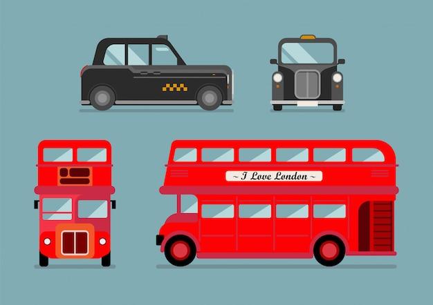 Conjunto de ônibus e táxi da cidade de londres