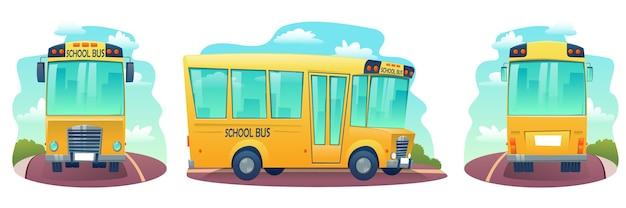 Conjunto de ônibus escolar de desenho animado. ônibus amarelo para crianças