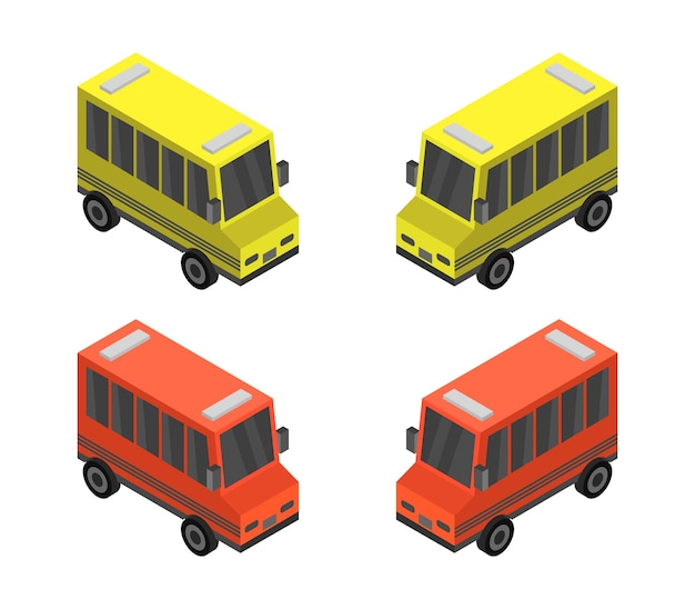 Conjunto de ônibus isométrico