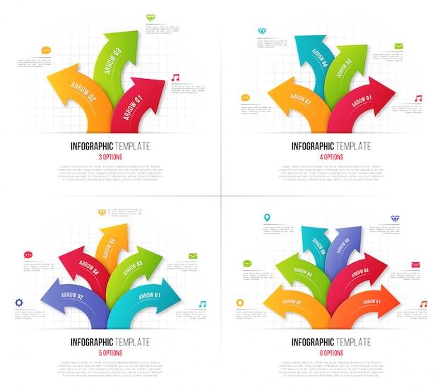 Conjunto de opções infográficos com setas circulares ramificadas.
