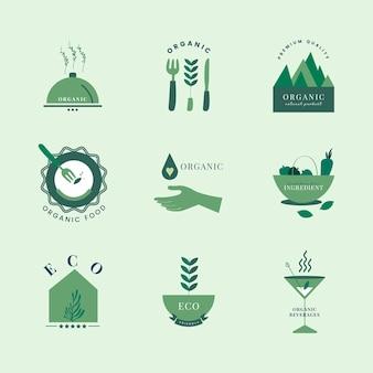 Conjunto de orgânicos e ir ícones verdes