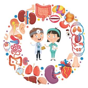 Conjunto de órgãos humanos com personagens de desenhos animados