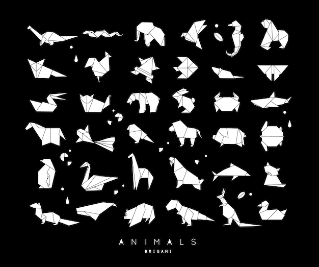 Conjunto de origami animais branco
