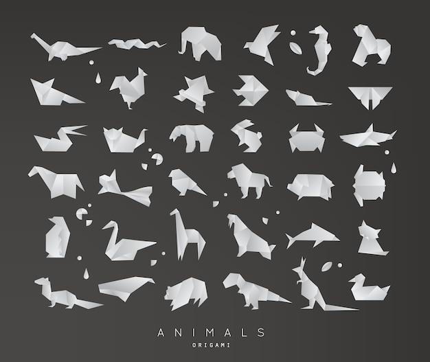 Conjunto de origami de animais