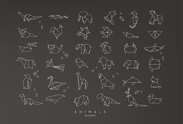 Conjunto de origami plana de animais