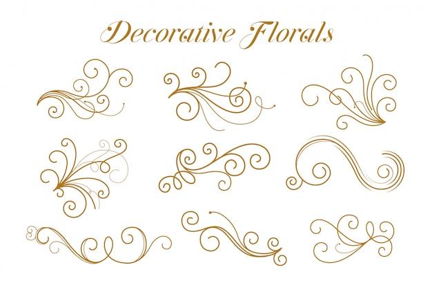 Conjunto de ornamentais florais dourados decorativos