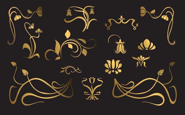 Conjunto de ornamento art nouveau