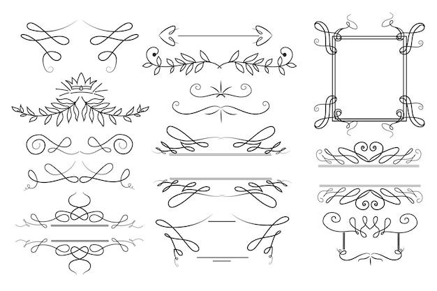 Conjunto de ornamento caligráfico desenhado à mão