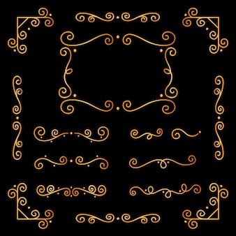 Conjunto de ornamento caligráfico dourado