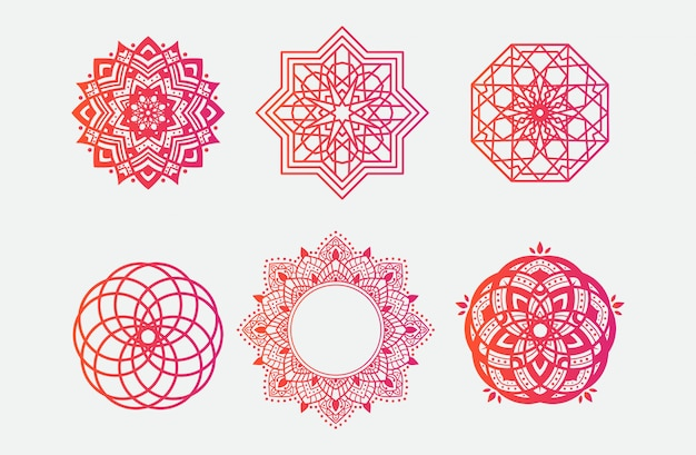 Conjunto de ornamento de arte mandala
