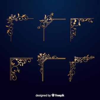 Conjunto de ornamento de borda dourada