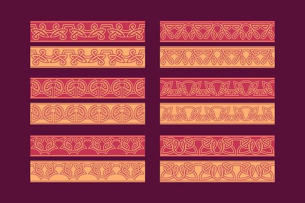 Conjunto de ornamento de borda sem costura com nó celta