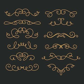 Conjunto de ornamento de casamento caligráfico
