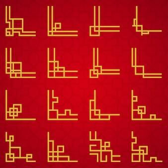 Conjunto de ornamento de fronteira chinesa oriental