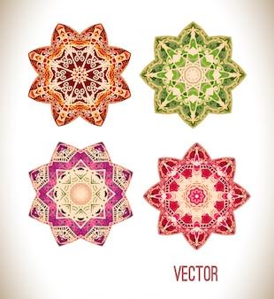 Conjunto de ornamento de mandala