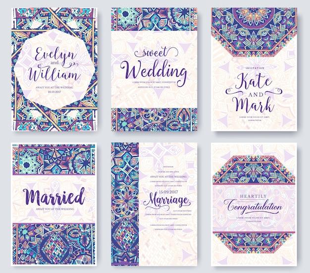 Conjunto de ornamento de páginas de folheto de cauda de fada. cartão retro decorativo ou convite