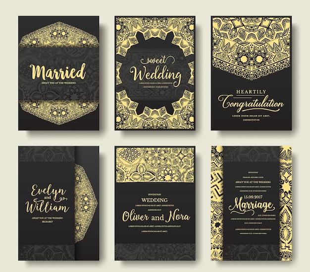 Conjunto de ornamento de páginas de folheto preto.
