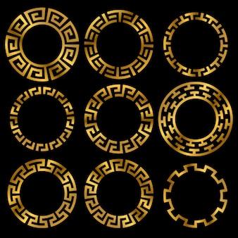 Conjunto de ornamento de quadro redondo grego antigo dourado