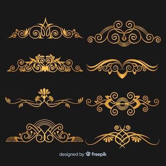 Conjunto de ornamento dourado