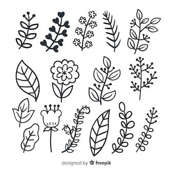 Conjunto de ornamento floral mão desenhada