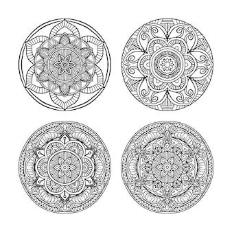 Conjunto de ornamento redondo decorativo de mandala de contorno, pode ser usado para colorir livro, terapia anti-estresse, cartão, impressão de capa de telefone, etc. estilo desenhado à mão isolado no fundo branco
