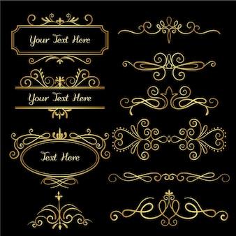 Conjunto de ornamentos caligráficos dourados