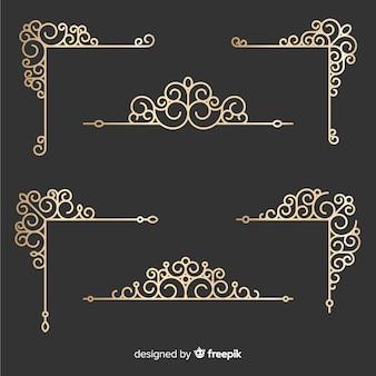 Conjunto de ornamentos de borda dourada