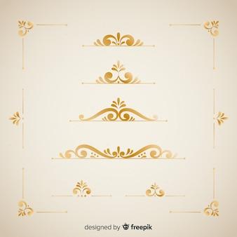 Conjunto de ornamentos de borda elegante