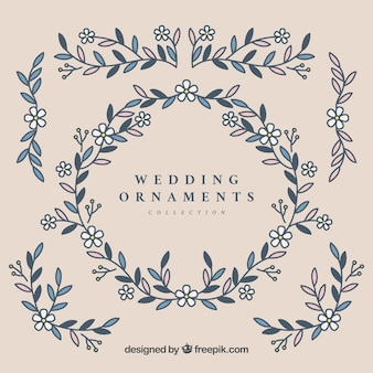 Conjunto de ornamentos de casamento em estilo plano