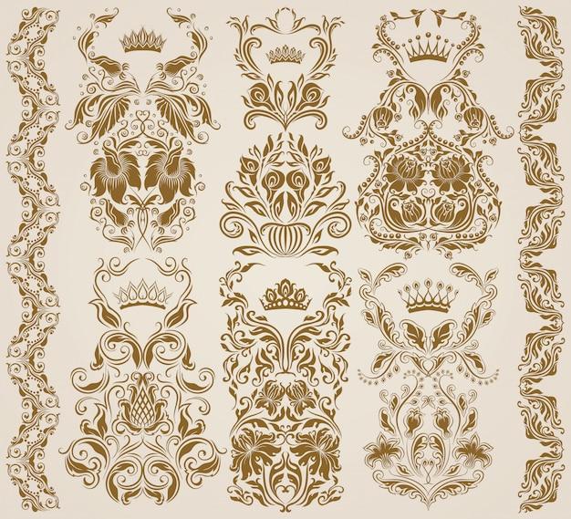 Conjunto de ornamentos de damasco de vetor, padrões.