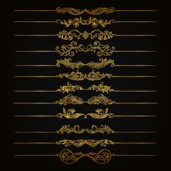 Conjunto de ornamentos de damasco de vetor.