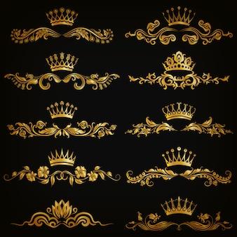 Conjunto de ornamentos de damasco vector com coroas