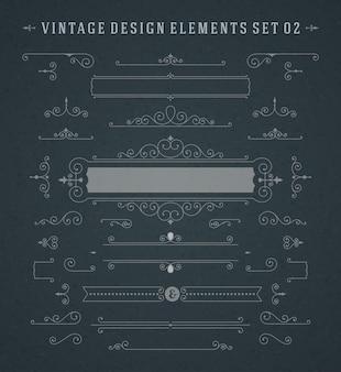 Conjunto de ornamentos de redemoinhos de vinhetas vintage