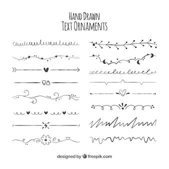 Conjunto de ornamentos desenhados à mão para texto