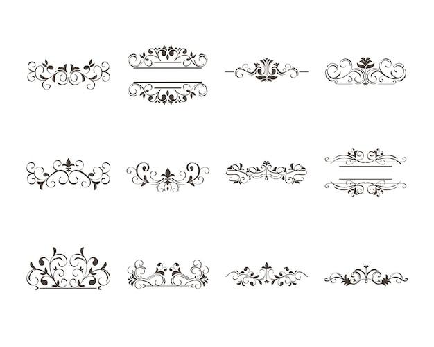 Conjunto de ornamentos e elementos decorativos