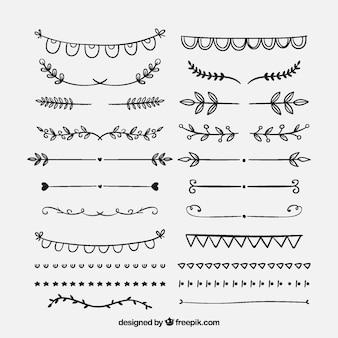 Conjunto de ornamentos vintage para texto desenhado à mão