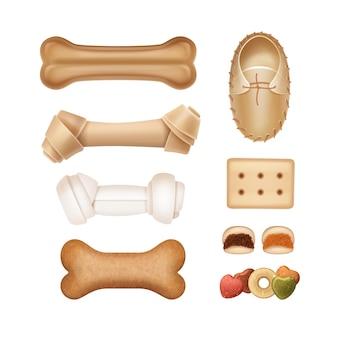 Conjunto de ossos e guloseimas para ilustração de animais de estimação isolado no branco