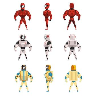 Conjunto de ostumas de robô, homem super-herói