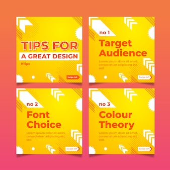 Conjunto de ótimas dicas de design nas postagens do instagram