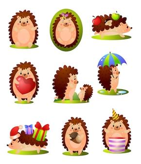 Conjunto de ouriço fofo engraçado floresta em diferentes situações