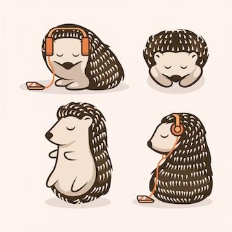 Conjunto de ouriço fofo mascote design ilustração