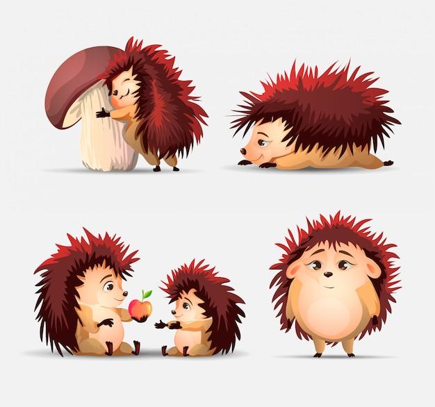 Conjunto de ouriços bonito dos desenhos animados, maçã e cogumelo.