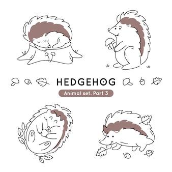 Conjunto de ouriços de doodle em várias poses isolados