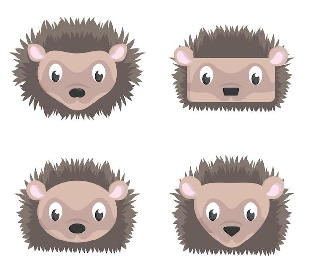 Conjunto de ouriços dos desenhos animados. diferentes formas de cabeças de animais.