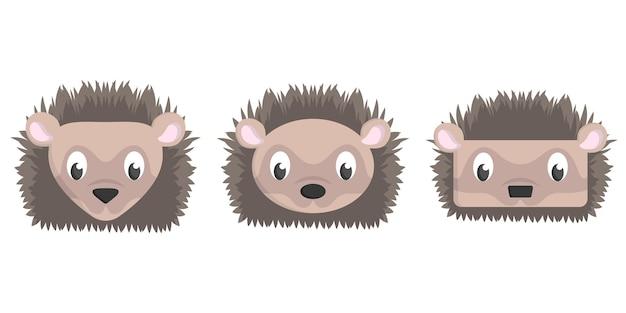 Conjunto de ouriços dos desenhos animados. diferentes formas de rostos de animais.