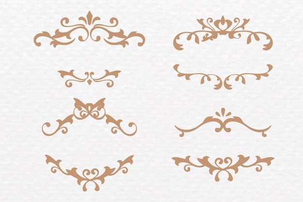 Conjunto de ouro art déco de vetor de moldura de ornamento de rolagem